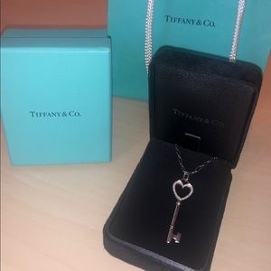 $2800 Tiffany & Co. Diamond Key Pendant & Necklace